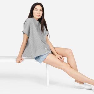 Everlane Cotton Poplin Collarless Square Shirt